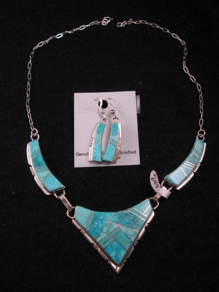 Image 2 of Turquoise Inlay Necklace & Earrings Set by Navajo Tom Shirley