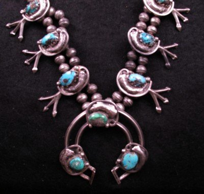 Image 6 of Vintage Dead Pawn Native American Turquoise Silver Squash Blossom Necklace