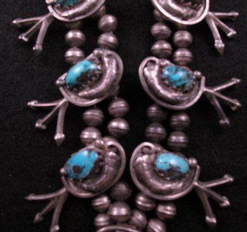 Image 7 of Vintage Dead Pawn Native American Turquoise Silver Squash Blossom Necklace