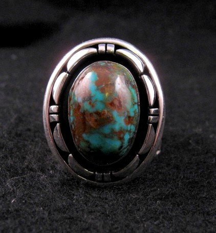 Image 0 of Persian Turquoise Navajo Silver Ring Sz11-1/2, L. Bruce Hodgins