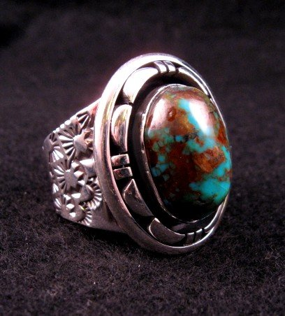 Image 1 of Persian Turquoise Navajo Silver Ring Sz11-1/2, L. Bruce Hodgins