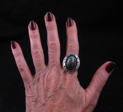 Image 3 of Persian Turquoise Navajo Silver Ring Sz11-1/2, L. Bruce Hodgins