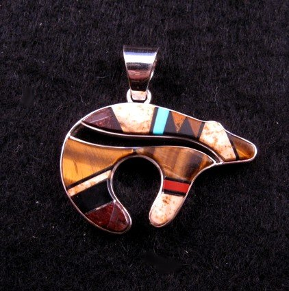 Image 0 of Navajo ~ Earl Plummer ~ Multi Inlay Bear Pendant