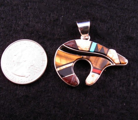 Image 1 of Navajo ~ Earl Plummer ~ Multi Inlay Bear Pendant