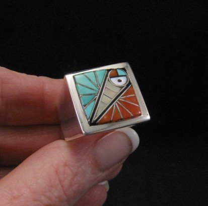 Zuni Native American Mens Inlaid Sunface Ring Sz11