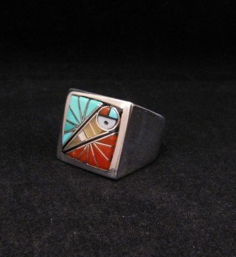 Image 2 of Zuni Native American Mens Inlaid Sunface Ring Sz11