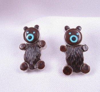 Zuni Native American Inlay Teddy Bear Earrings