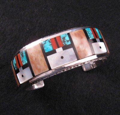 Gilbert Calavaza * Zuni * Multi-gem Inlay Silver Cuff Bracelet