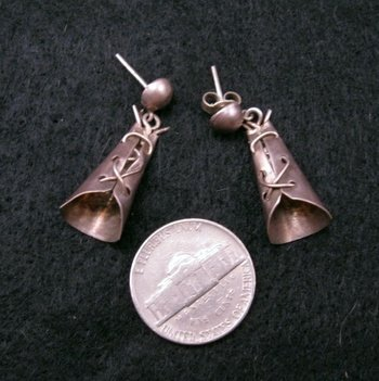 Vintage Fred Harvey Silver Teepee Tourist Earrings