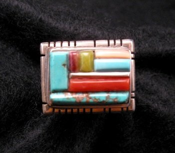 Image 0 of Navajo/Creek David Tune Adjustable Cobblestone Inlay Ring sz7-9