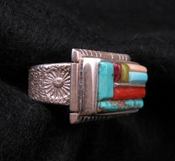 Image 1 of Navajo/Creek David Tune Adjustable Cobblestone Inlay Ring sz7-9