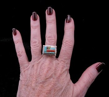 Image 2 of Navajo/Creek David Tune Adjustable Cobblestone Inlay Ring sz7-9