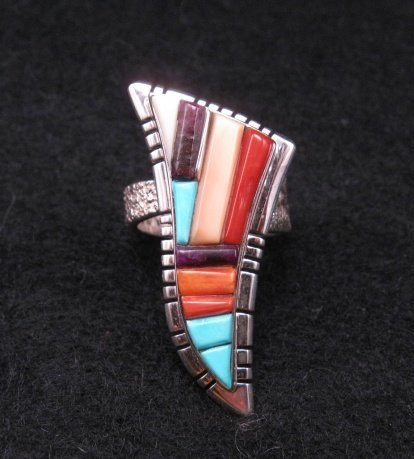 David Tune  Navajo/Creek Multigem Inlay Silver Ring sz7 to sz8-1/2 adjustable