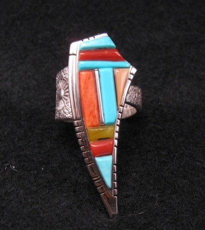 David Tune Navajo/Creek Multigem Inlay Silver Ring sz6-1/2 sz7 sz8