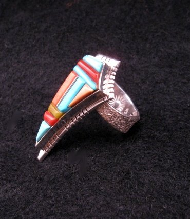Image 1 of David Tune Navajo/Creek Multigem Inlay Silver Ring sz6-1/2 sz7 sz8
