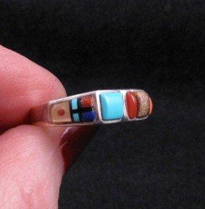 Image 0 of Narrow Native American Inlaid Band Ring Sz8-1/2