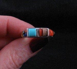 Image 1 of Narrow Native American Inlaid Band Ring Sz8-1/2