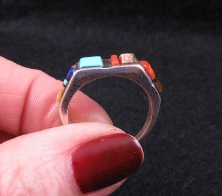 Image 2 of Narrow Native American Inlaid Band Ring Sz8-1/2