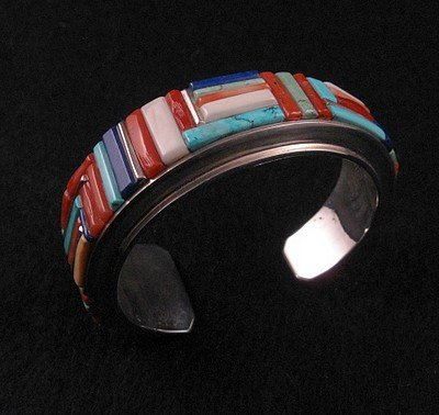 Image 0 of David Tune ~ Navajo/Creek ~ Cobblestone Inlay Bracelet