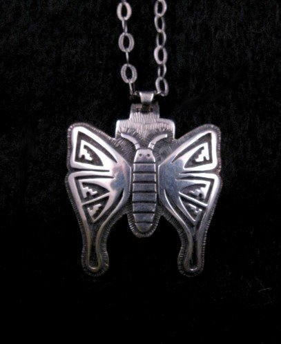Hopi Indian Sterling Silver Butterfly Pendant Necklace, Greg Naseyoma