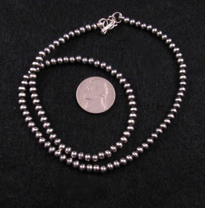 Native American 4mm Bead Navajo Pearls Sterling Silver Necklace 16-inch long
