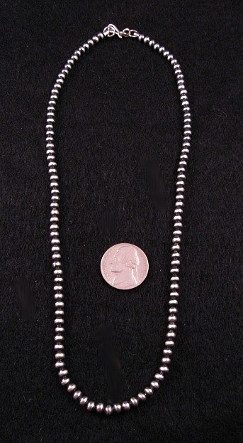 Image 1 of Native American 5mm Bead Navajo Pearls Sterling Silver Necklace  22-inch long