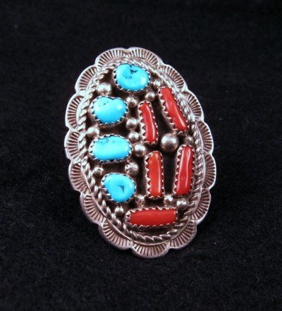 Native American Dead Pawn Turquoise Coral Nugget Silver Ring Sz8-1/2