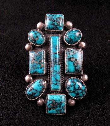 Gorgeous Turquoise Ring by Navajo Verdy Jake sz6-1/2 to 8