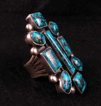 Image 1 of Gorgeous Turquoise Ring by Navajo Verdy Jake sz6-1/2 to 8