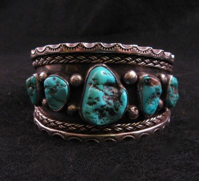 Dead Pawn Navajo Turquoise Silver Cuff Bracelet