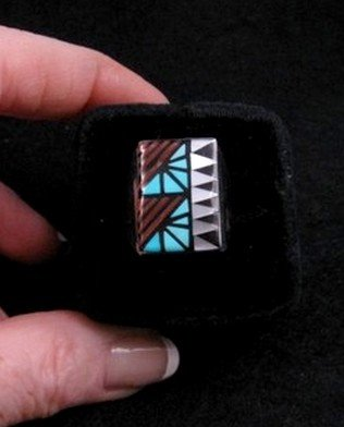 Image 0 of Zuni Angelena Laahty Multigem Inlay Silver Ring sz11