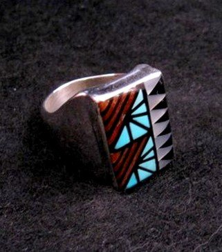 Image 1 of Zuni Angelena Laahty Multigem Inlay Silver Ring sz11