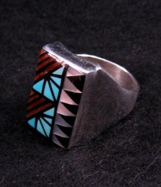 Image 2 of Zuni Angelena Laahty Multigem Inlay Silver Ring sz11
