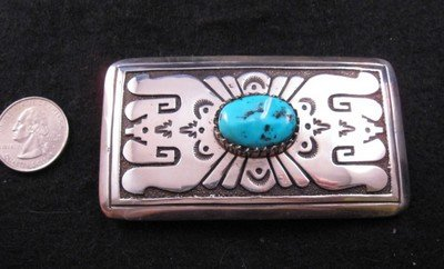 Navajo Turquoise Sterling Silver Buckle, Tommy Singer