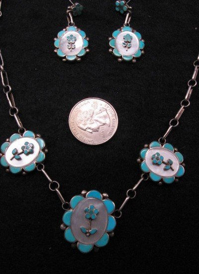 Vintage Dead Pawn Zuni Inlaid Necklace & Earrings Set, Charlotte Bradley