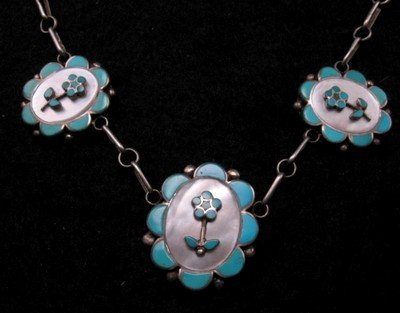 Image 1 of Vintage Dead Pawn Zuni Inlaid Necklace & Earrings Set, Charlotte Bradley