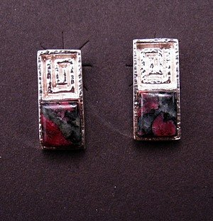 Hopi Silver & Eudialyte Earrings, Bennard & Frances Dallasvuyaoma