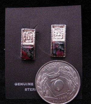 Image 1 of Hopi Silver & Eudialyte Earrings, Bennard & Frances Dallasvuyaoma