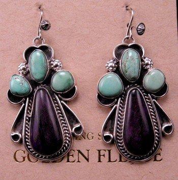 native american turquoise sugilite earrings martha willeto