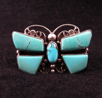Darrell Cadman ~ Navajo ~ Turquoise Butterfly Ring sz9