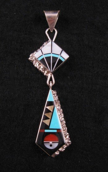 Long Zuni Multi-Stone Sterling Silver Inlaid Pendant, Jerome Esalio