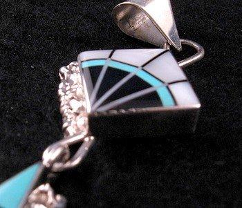 Image 1 of Long Zuni Multi-Stone Sterling Silver Inlaid Pendant, Jerome Esalio