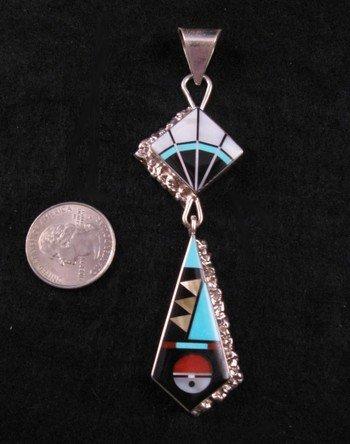 Image 2 of Long Zuni Multi-Stone Sterling Silver Inlaid Pendant, Jerome Esalio