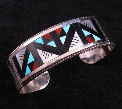Image 0 of Lisa & Leander Othole Zuni Geometric Inlaid Bracelet Jewelry