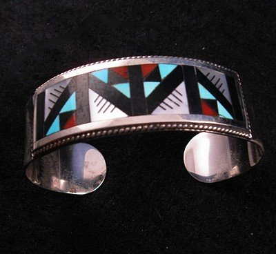 Image 1 of Lisa & Leander Othole Zuni Geometric Inlaid Bracelet Jewelry