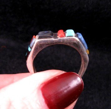 Narrow Native American Inlaid Band Ring Sz8