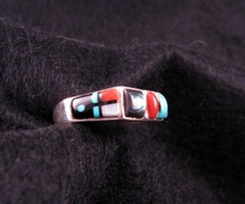 Image 1 of Narrow Native American Inlaid Band Ring Sz8