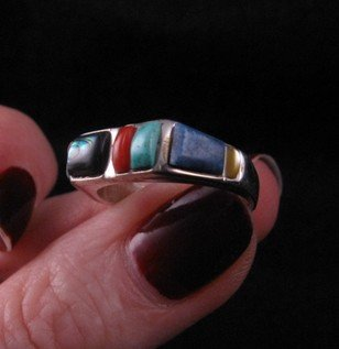 Image 2 of Narrow Native American Inlaid Band Ring Sz8
