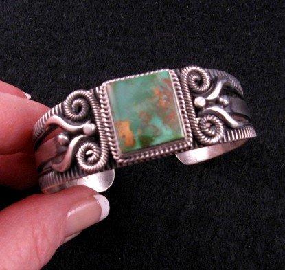 Image 1 of Navajo Pilot Mtn Turquoise Silver Bracelet, Delbert Gordon