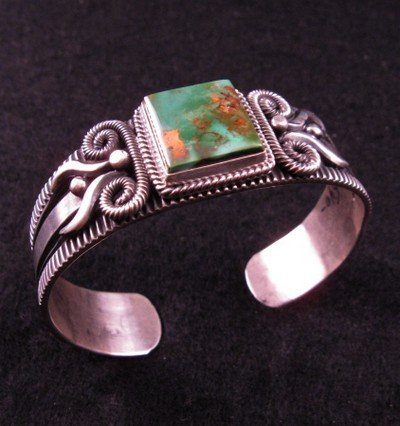 Image 2 of Navajo Pilot Mtn Turquoise Silver Bracelet, Delbert Gordon